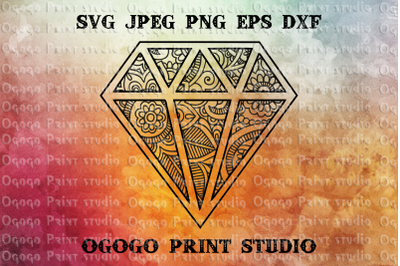 Diamond SVG, Zentangle SVG, Engagement Mandala svg, Cricut