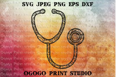 Stethoscope svg, Zentangle SVG, Medical svg, Mandala svg