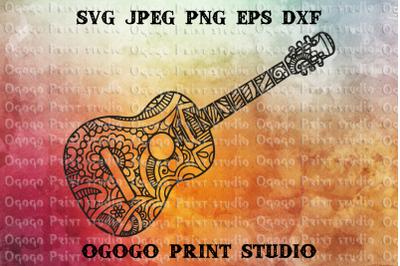 Guitar Svg, Zentangle SVG, Music SVG, Mandala svg, Cricut