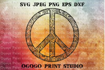 Peace Svg, Hipster Svg, Zentangle SVG, Mandala svg, Cricut
