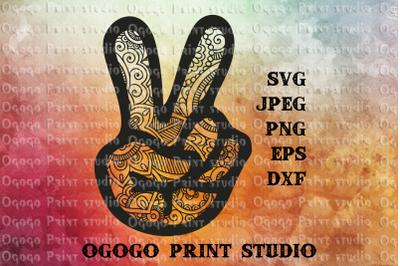 Peace Svg, Hand Svg, Zentangle SVG, Mandala svg, Cricut file