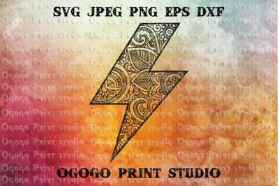 Lightning Bolt Svg, Flash Svg, Zentangle SVG, Mandala svg