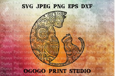 Cat SVG, Mandala svg, Zentangle SVG, Kitten svg, Cricut file