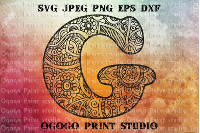 Alphabet Letter G SVG, Initial svg, Zentangle SVG, Mandala svg