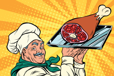 joyful retro cook with meat foot