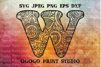 Alphabet Letter W SVG, Initial svg, Zentangle SVG, Mandala svg