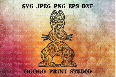 Bunny svg, Easter svg, Mandala svg, Zentangle SVG, Cricut