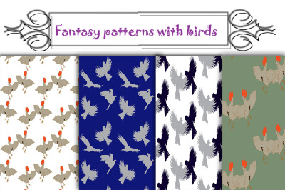 Fantasy seamless patterns with birds-Vector graphics