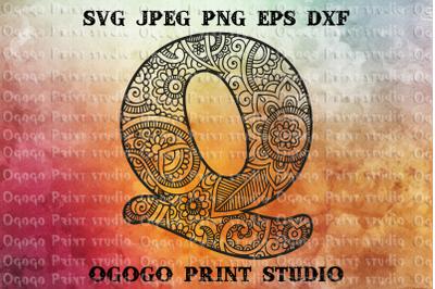 Alphabet Letter Q SVG, Initial svg, Zentangle SVG, Mandala svg