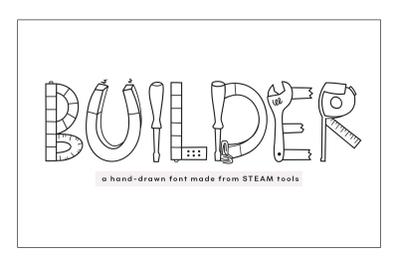 Builder - A  Handwritten Font with STEAM doodles