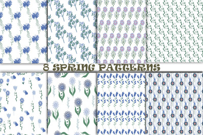 Seamless pattern with abstract spring flowers.