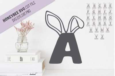 A-Z Chunky Alphabet Bunny Ears SVG Cut File