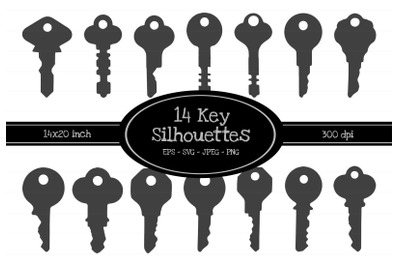 14 Key Silhouette Illustrations EPS-SVG-JPEG-PNG