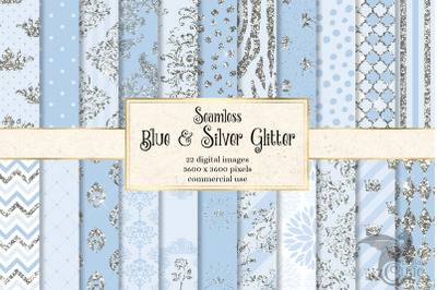 Blue and Silver Glitter Digital Paper