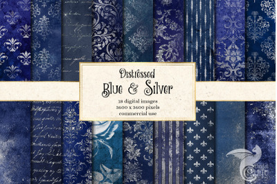 Distressed Blue and Silver Textures