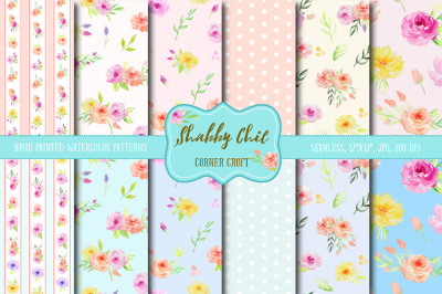 Watercolor digital Paper Shabby Chic