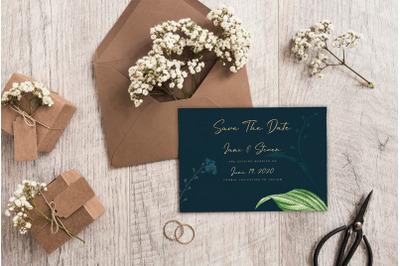 Navy Background Wedding Invitation Suite