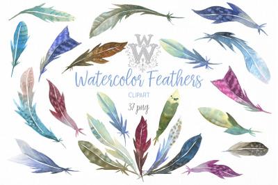 Watercolor feathers clip art, tribal Boho wedding clipart