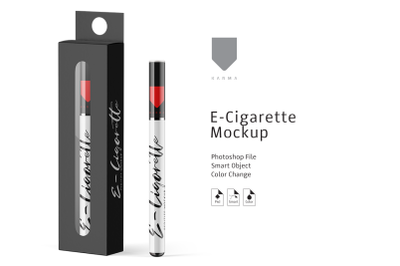 E-Cigarette & Box Mockup