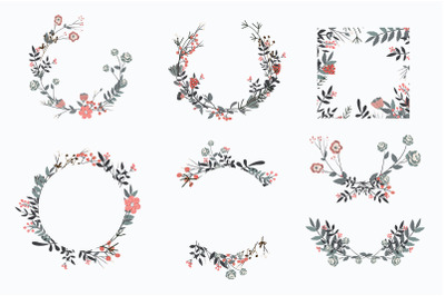 Hand drawn set of different floral vector leaves,