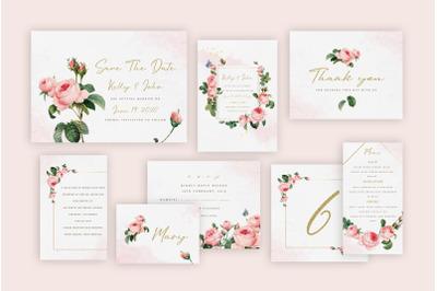 Rose Wedding Invitation Suite