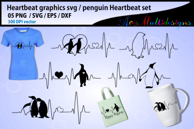 Penguin heartbeat graphics and illustration / heartbeat graph SVG