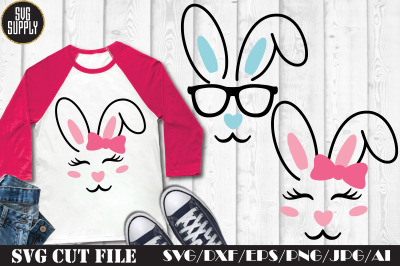Easter Bunny Face SVG Cut File