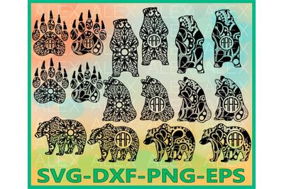 Bear, Bear Mandala, Bear Zentangle, Cricut Cut Files