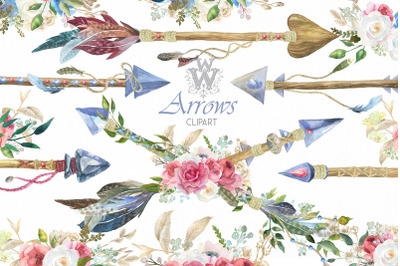Watercolor Boho Arrows clipart floral wedding bouquets tribal feather