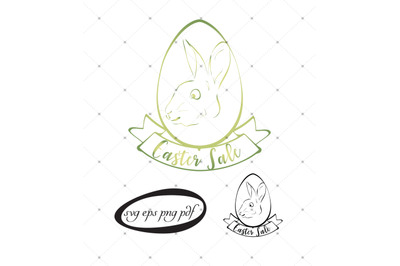 2 Easter bunny color and black svgs with Easter Sale copy and cliparts