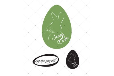 Happy Easter bunny svg, eps, pdf  clipart files.