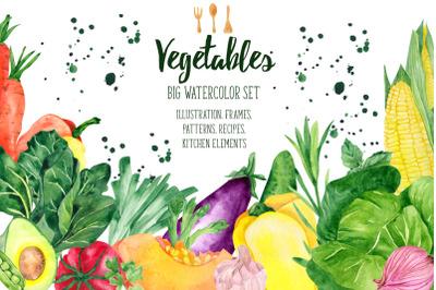 Vegetables. Big watercolor set