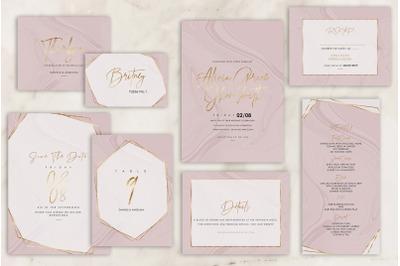 Rose Marble Wedding Invitations