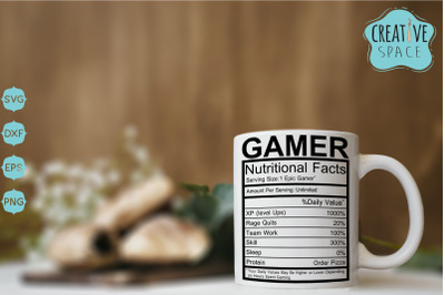 Gamer Nutritional Facts Svg