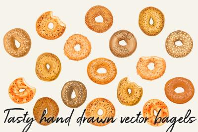 Hand drawn vector bagel set