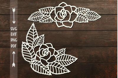 Rose Leaves Divider Border Corner paper cut svg dxf  template