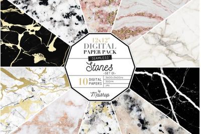 Seamless Digital Paper  I  Stones Set 01