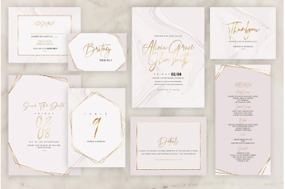 Rose Marble Wedding Invitation