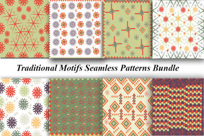 Set of various seamless colored vintage patterns with geometric patter