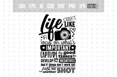 Life is like a camera... - Vector Typography Design