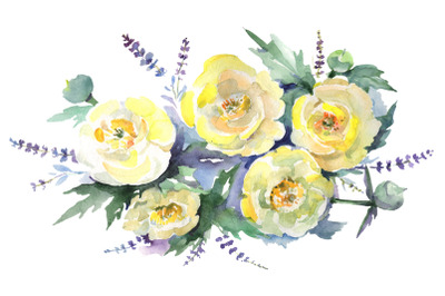 Bouquet of yellow flowers Watercolor png
