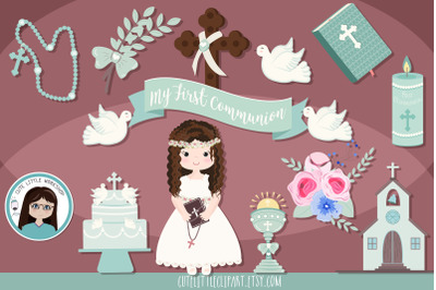 First Communion Girl Aquamarine