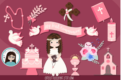 Girl First Communion pink theme