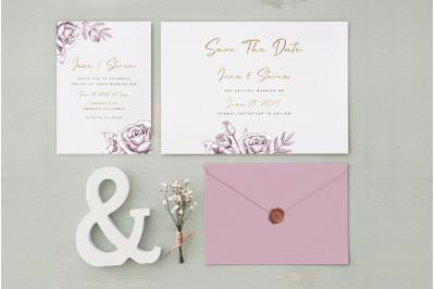Gold Wedding Invitation Suite