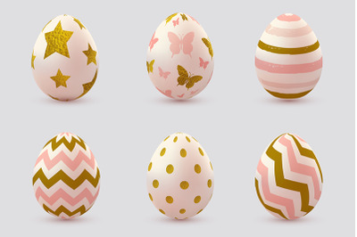 Set of Pink Decorative Easter Eggs