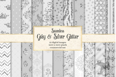 Gray and Silver Glitter Digital Paper
