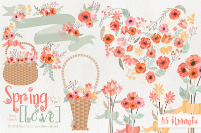 Spring Love 01 - Peach and Mint Vector Clipart