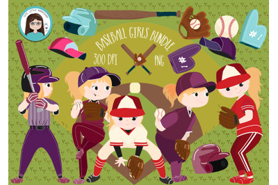Baseball Girls bundle cliparts