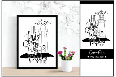 He Lights My Way HandLettering Bible verse Cut-File