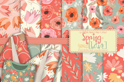 Spring Love 01 Seamless Pattern Designs and Digital Papers
